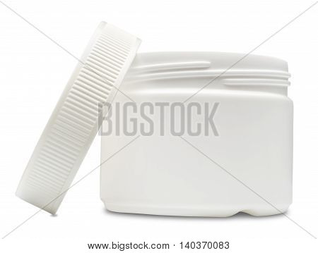 Open white plastic container for cosmetics. Isolated on the white background with shadow.