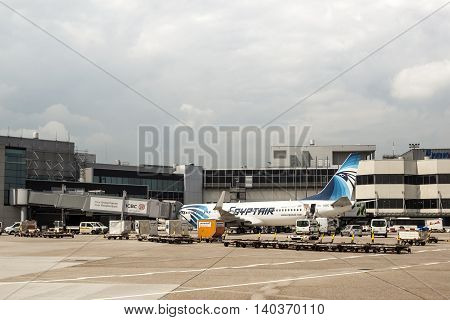 FRANKFURT GERMANY - JULY 24 2016: EgyptAir Boeing 737-866 airplane at the Frankfurt International Airport
