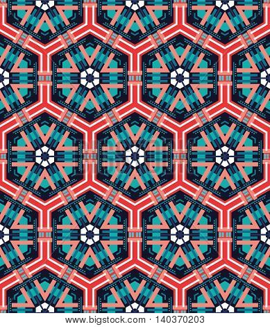 beautiful mosaic flat abstract multicolored geometric ornament for Wallpaper textiles ceramics. Seamless ceramic pattern on blue background.