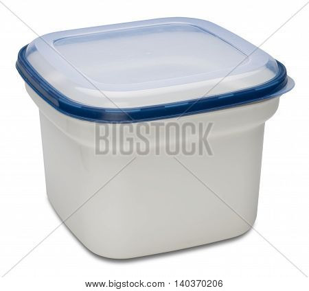 Closed white plastic container for products. Isolated on the white background with shadow.