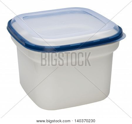 Closed white plastic container for products. Isolated on the white background no shadow.