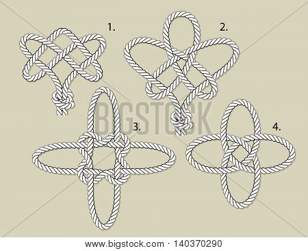 vector magical knots 1 eternal 2 tree of life 3 cross 4 turkish