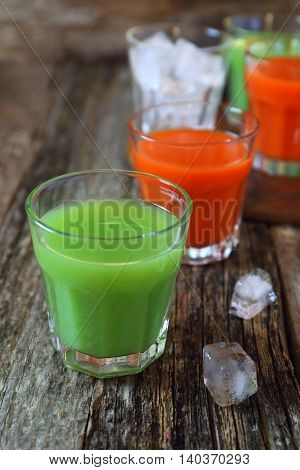 Assortment of juice: carrot and cactus drink