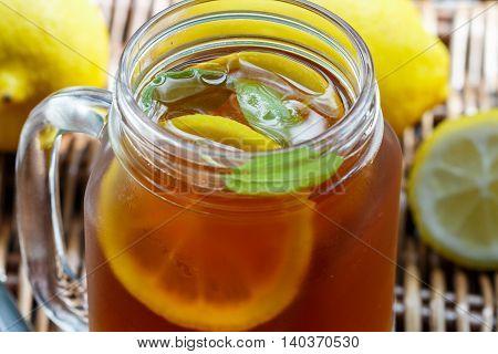 Summer Refreshing Drink. Citrus Ice Tea. Selective Focus