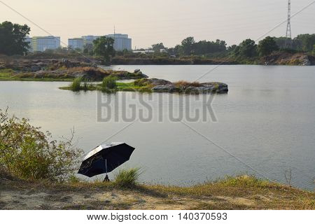 rocky lake with small river islet near Ho Chi Minh city vietnam