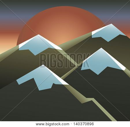 Landscape Of Sun, Sky And Mountains