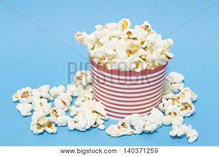 The popcorn heap on a blue background