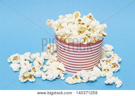 The popcorn heap on a blue background