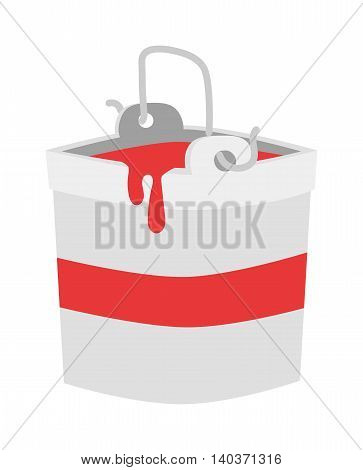 Paint bucket vector icon. Flat paint bucket cartoon vector illustration. Paint bucket with red color ink. Art work bucket container.