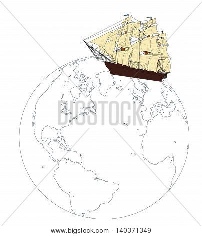 Ship on the globe. Travel Concept. vector illustration