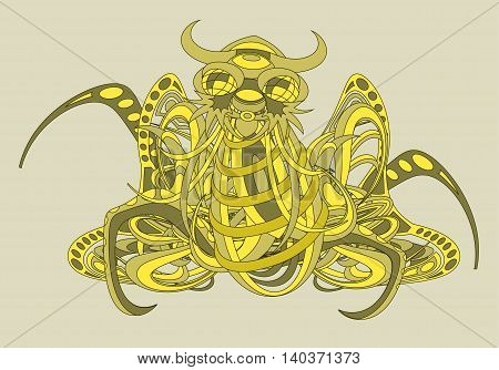 Patterned fantastic creature deity demon or an animal resembling a spider or an octopus consisting of weaves of flexible objects. Tattoo design. Isolated vector composition.