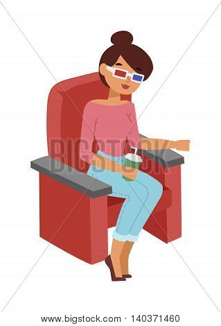 Cinema girl entertainment and fun people concept. Happy cinema girl with 3d glasses watching movie in theater. Beautiful cinema entertaining cheerful girl fun watching leisure vector character.