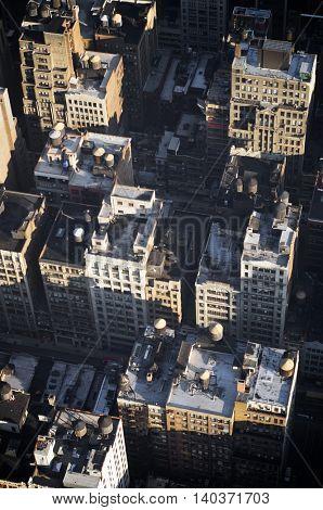 Aerial view in Manhattan, New York, United States.