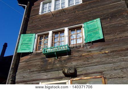 Typical facade in the alpine village of Zermatt, Switzerland.