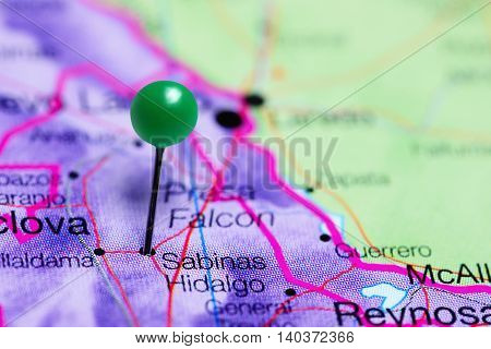 Sabinas Hidalgo pinned on a map of Mexico