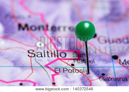 El Potosi pinned on a map of Mexico