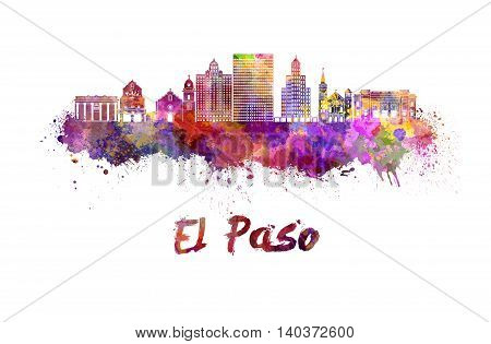 El Paso skyline in watercolor splatters with clipping path