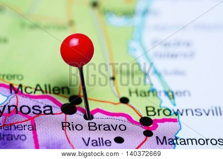 Rio Bravo pinned on a map of Mexico