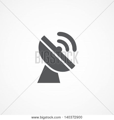 Gray Satellite dish icon on white background
