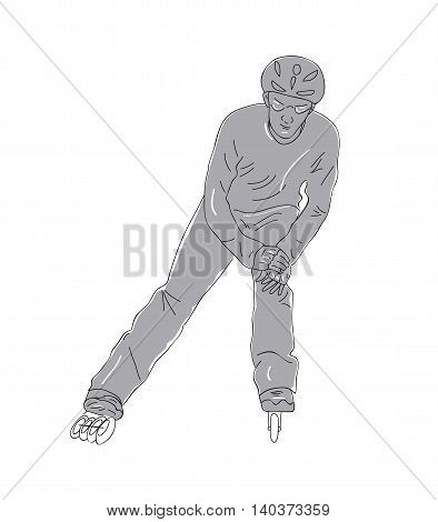 silhouette of a man roller-skating. vector illustration