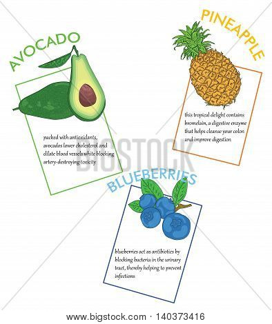 Fruits: avocado, pineapple, blueberries. infographics about the impact on the human body. vector illustration.