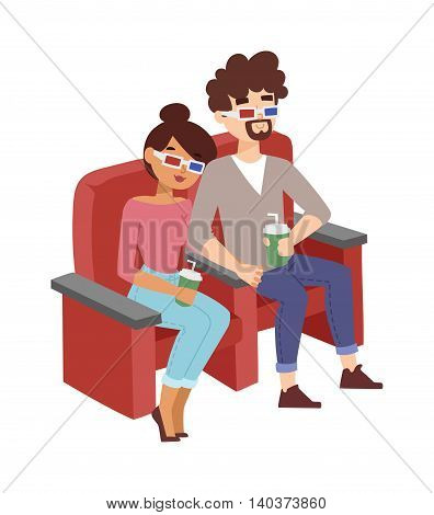 Happy couple sitting in movie theater, watching 3D movie, eating popcorn, smiling vector. Happy entertaining person, friends cinema people lifestyle auditorium. Cinema people watching film.