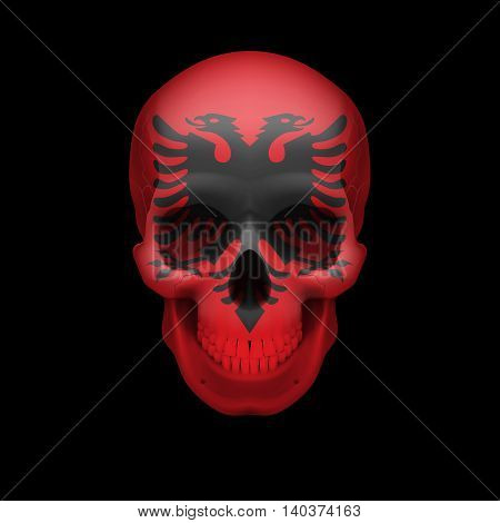 Human skull with flag of Albania. Threat to national security war or dying out
