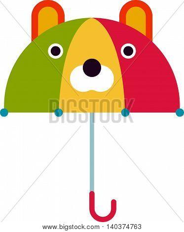 Cute kids multi colored umbrella in flat design style. Autumn accessory concept fashion umbrella. Colorful flat comfort umbrella outdoor element, climate protective sign.