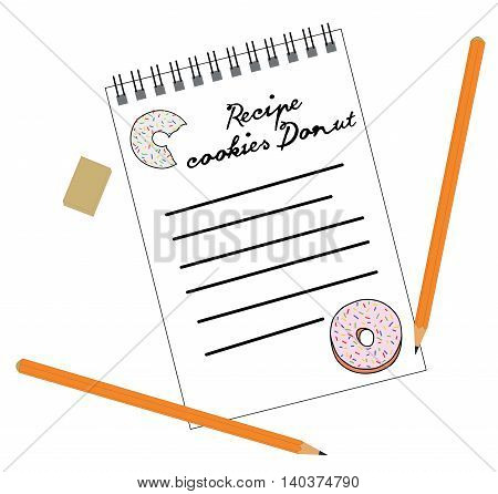 Cookies Recipe donut written in a notebook. vector illustration