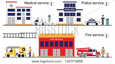 illustration on white background a police station fire Department hospital emergency vehicles and personnel.