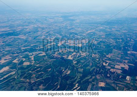 Aerial View of Agriculture Landscape in Italy