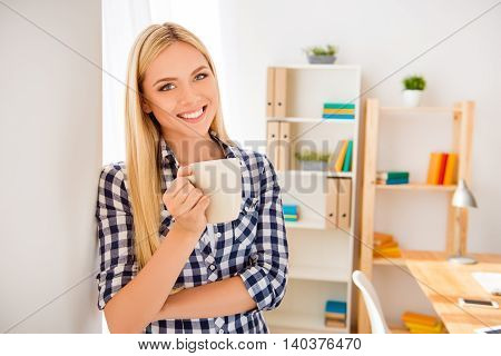 Young Happy Woman  Having Break And Drinking Coffee