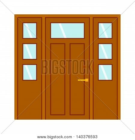 Color door isolated on white. Colorful front door to house and building in flat design style isolated. Vector illustration door isolated modern new decoration open elegant room lock