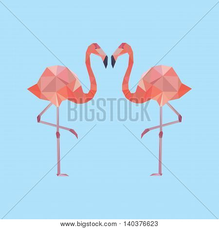 Vector decorative element with two polygonal flamingo.