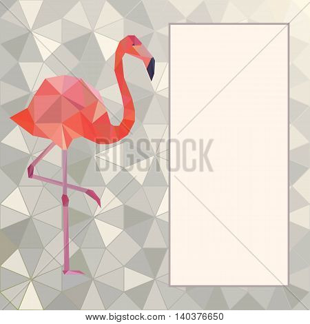 Vector greeting card template with pink flamingo.