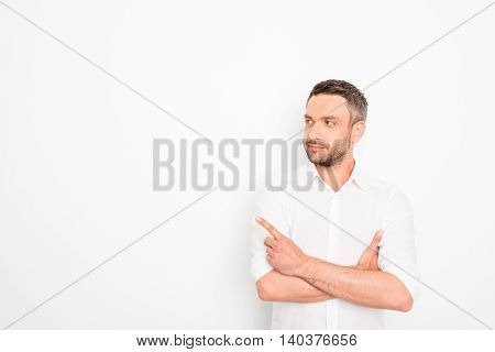 Handsome Successful Businessman Pointing With Finger On White Background