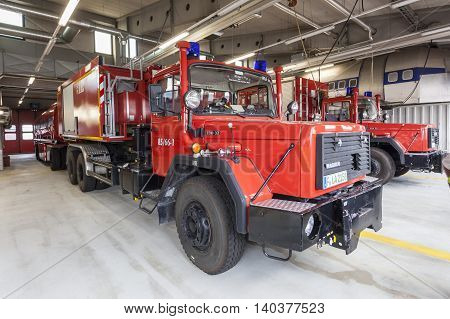 FRANKFURT GERMANY - JULY 24 2016: Fire trucks at the airport Fire Department in Frankfurt Main International Airport