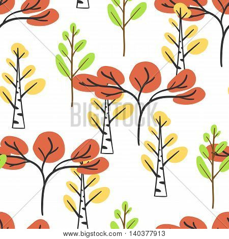 Seamless pattern with autumn trees. Vector illustration. Colorful wallpaper on white background. Freehand trees with yellow, green and red leaves. Stylized maple and birch