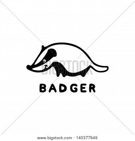 Badger logo. Vector illustration isolated on white. Cute little animal. Freehand design for kindergarten, zoo, wildlife protection