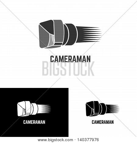 Logo for cameraman. Vector illustration of video camera isolated on white. Monochrome and black video camera logotype