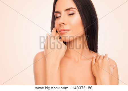 Sensual Beautiful Woman With Closed Eyes Touching Face