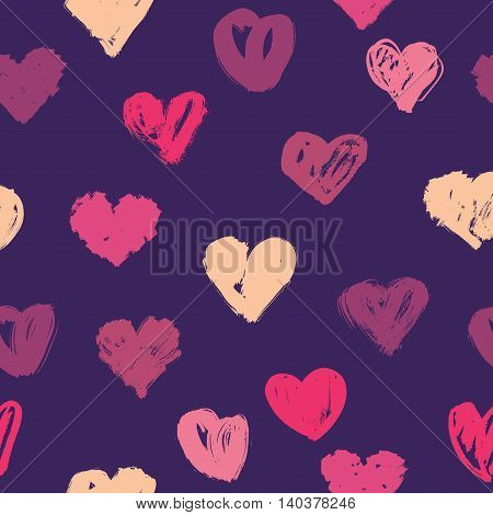 Vector seamless hearts pattern, love theme background