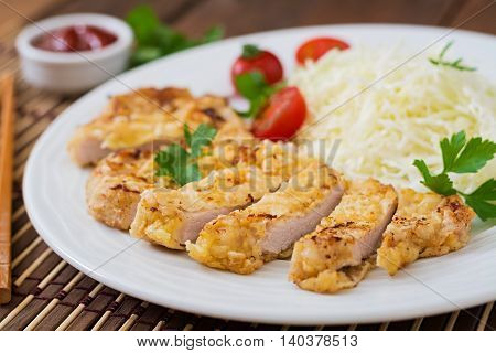 Fried Pork Cutlet With Fresh Cabbage Salad And Sauce