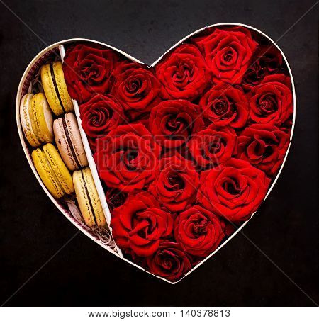 Box In The Shape Of A Heart With Red Roses And Macaroon. Gift On Valentine's Day. Top View