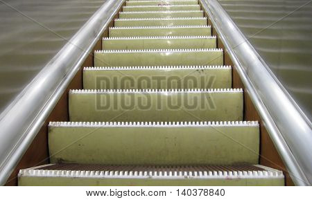 Close up view of the escalator staircase