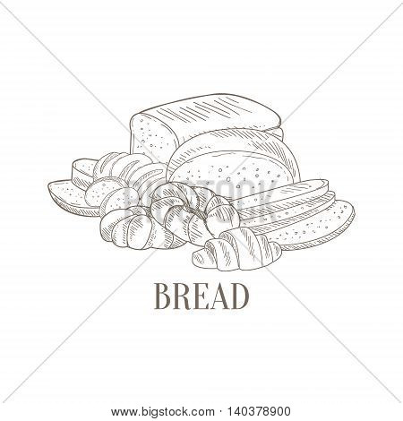 Bread And Pastry Still Life Hand Drawn Realistic Detailed Sketch In Classy Simple Pencil Style On White Background