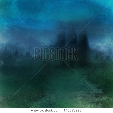 abstract landscape with old castle at night , raster