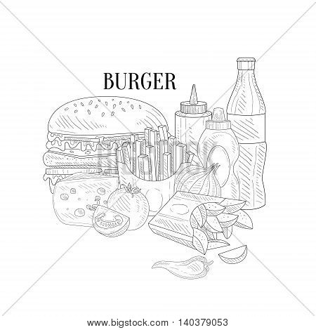 Burger, Fries And Soda Fast Food Lunch Hand Drawn Realistic Detailed Sketch In Classy Simple Pencil Style On White Background