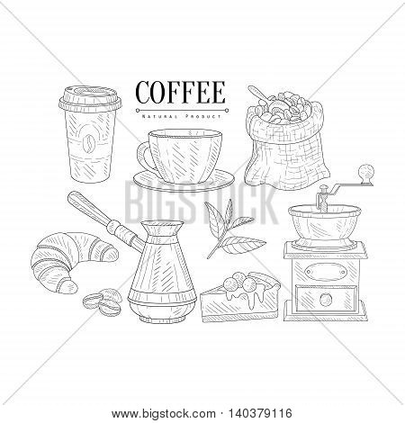 Coffee Related Object And Food Set Hand Drawn Realistic Detailed Sketch In Classy Simple Pencil Style On White Background