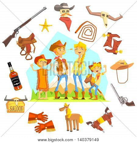Family Dressed As Cowboys Surrounded By Wild West Related Objects Cool Colorful Vector Illustration In Stylized Geometric Cartoon Design